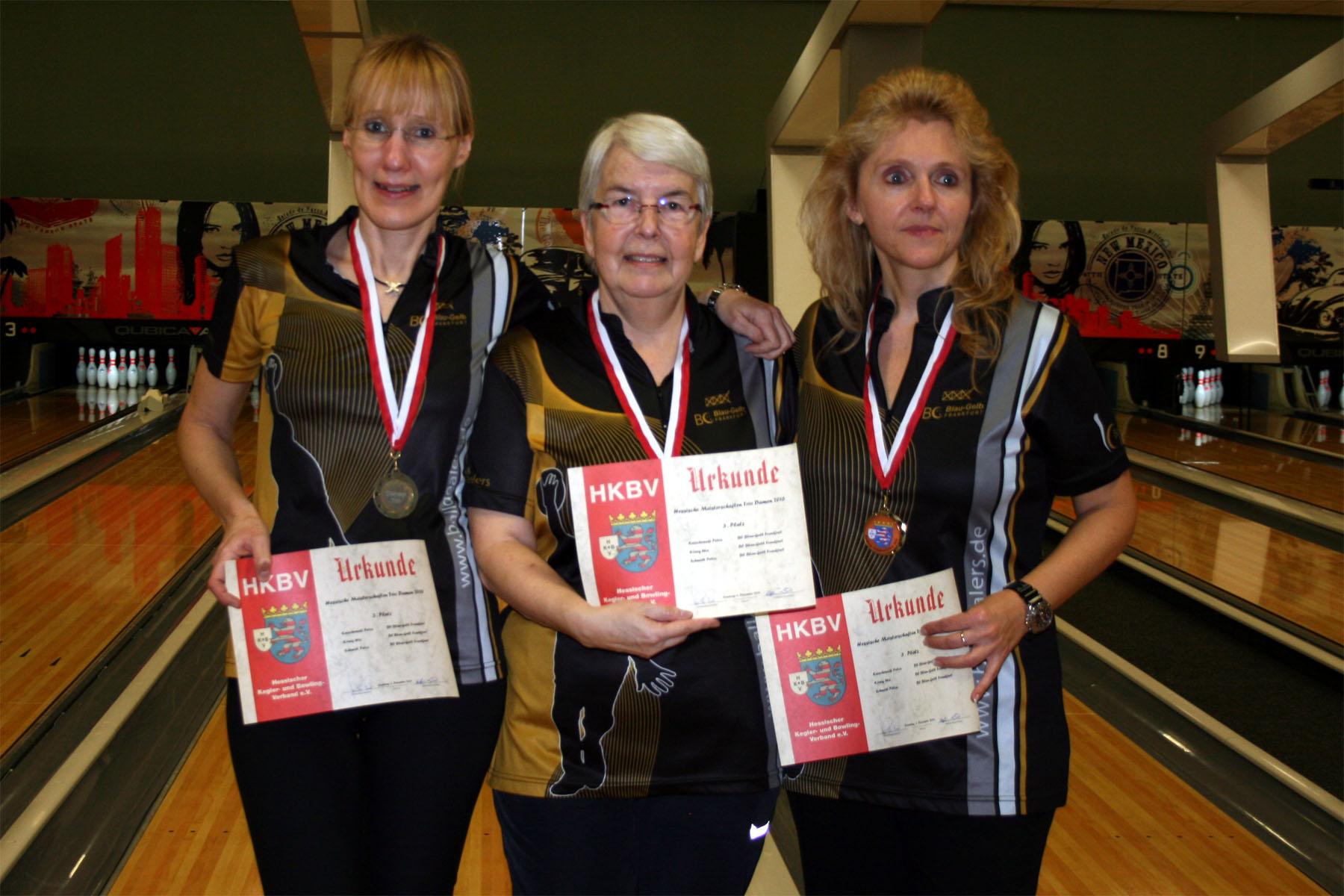 Auf Platz 3 Damentrio: Uta König, Petra Knischewski, Petra Schmidt (v.l.)
