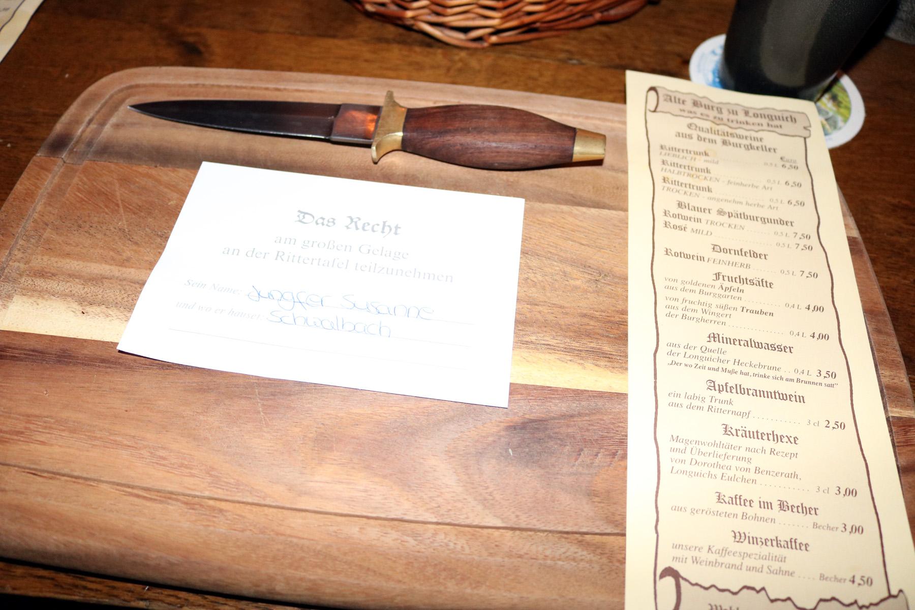 Einladung zur Rittertafel