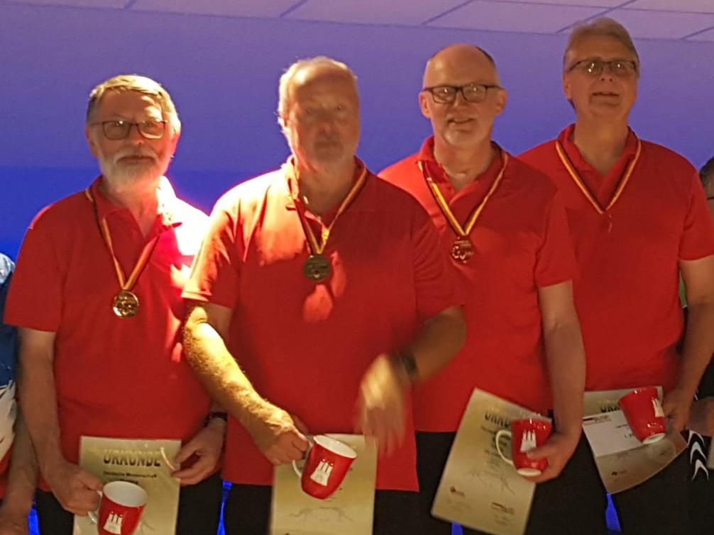 Deutscher Meister Trio Senioren B: Kurt Geretshauser, Werner Laun, Rolf Appel und Hans-Jürgen Naumann